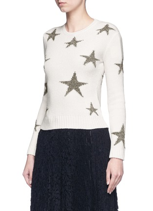 Front View - Click To Enlarge - Valentino - Metallic star intarsia cashmere sweater