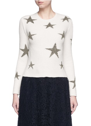 Main View - Click To Enlarge - Valentino - Metallic star intarsia cashmere sweater