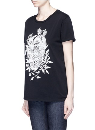 Front View - Click To Enlarge - Alexander McQueen - Floral skull print T-shirt
