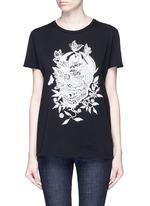 Floral skull print T-shirt