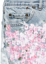 One of a kind hand-painted cherry blossom splatter vintage shorts