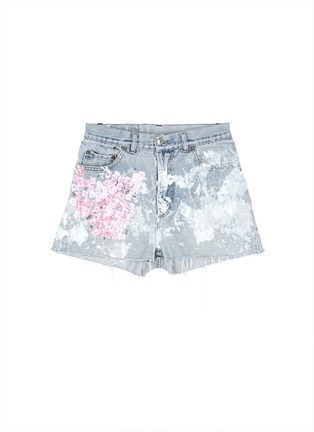 Main View - Click To Enlarge - RIALTO JEAN PROJECT - One of a kind hand-painted cherry blossom splatter vintage shorts