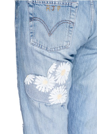 - RIALTO JEAN PROJECT - One of a kind patchwork hand-painted daisy vintage boyfriend jeans