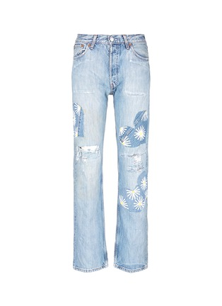 Main View - Click To Enlarge - RIALTO JEAN PROJECT - One of a kind patchwork hand-painted daisy vintage boyfriend jeans