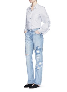 RIALTO JEAN PROJECT One of a kind patchwork hand-painted daisy vintage boyfriend jeans
