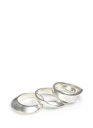 Detail View - Click To Enlarge - Sophie Buhai - 'Disc and Dimple' sterling silver three ring set