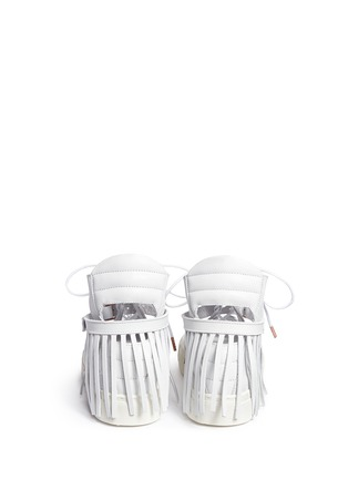 Back View - Click To Enlarge - Eugène Riconneaus - 'Calcuta-Open' fringe cutout leather high top sneakers