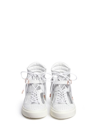 Front View - Click To Enlarge - Eugène Riconneaus - 'Calcuta-Open' fringe cutout leather high top sneakers