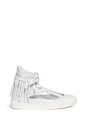Main View - Click To Enlarge - Eugène Riconneaus - 'Calcuta-Open' fringe cutout leather high top sneakers