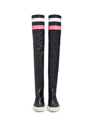Front View - Click To Enlarge - Eugène Riconneaus - 'E-high' stripe leather thigh high sneaker boots