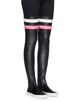 Figure View - Click To Enlarge - Eugène Riconneaus - 'E-high' stripe leather thigh high sneaker boots