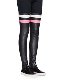 EUGÈNE RICONNEAUS'E-high' stripe leather thigh high sneaker boots