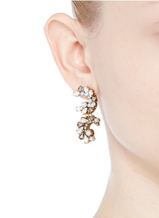 Figure View - Click To Enlarge - Erickson Beamon - 'Swan Lake' Swarovski crystal glass pearl drop earrings