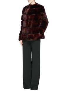 YVES SALOMONSuede stripe rabbit fur jacket