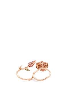 Anyallerie Diamond 18k rose gold floral two finger ring