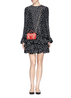 Dolce & GabbanaFan print patent leather crossbody phone bag