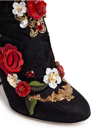 Detail View - Click To Enlarge - Dolce & Gabbana - Leather rosette embroidery filigree brocade boots