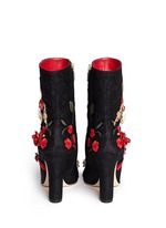 Leather rosette embroidery filigree brocade boots