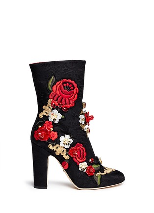 Main View - Click To Enlarge - Dolce & Gabbana - Leather rosette embroidery filigree brocade boots