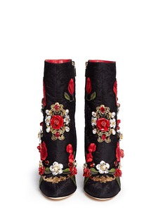 Dolce & GabbanaLeather rosette embroidery filigree brocade boots