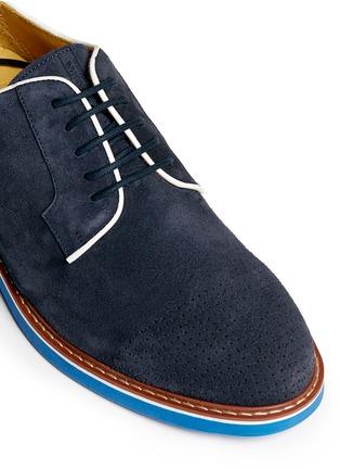 细节 - 点击放大 - ARMANI COLLEZIONI - 真皮拼色系带鞋