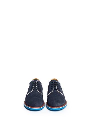 模特儿示范图 - 点击放大 - ARMANI COLLEZIONI - 真皮拼色系带鞋