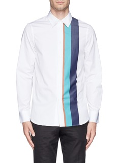 MARNIStripe panel cotton poplin shirt