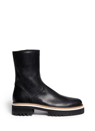 Main View - Click To Enlarge - ANN DEMEULEMEESTER - Tread sole leather ankle boots