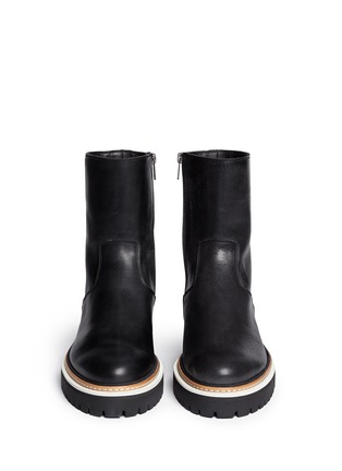 Figure View - Click To Enlarge - ANN DEMEULEMEESTER - Tread sole leather ankle boots