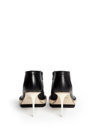 Back View - Click To Enlarge - ANN DEMEULEMEESTER - Double platform acetate heel leather booties