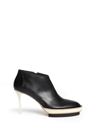 Main View - Click To Enlarge - ANN DEMEULEMEESTER - Double platform acetate heel leather booties