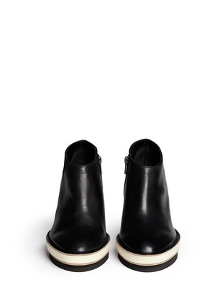 Figure View - Click To Enlarge - ANN DEMEULEMEESTER - Double platform acetate heel leather booties