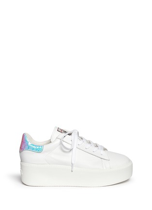 Main View - Click To Enlarge - Ash - 'Cult' holographic trim leather platform sneakers