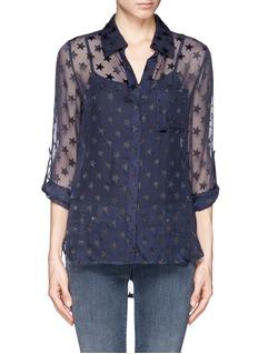 DIANE VON FURSTENBERG'Lorelei' star print sheer silk shirt