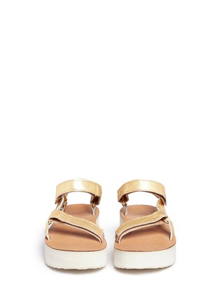 Front View - Click To Enlarge - Teva - 'Flatform Universal Mirrored Metallic' leather sandals