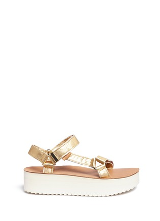 Main View - Click To Enlarge - Teva - 'Flatform Universal Mirrored Metallic' leather sandals