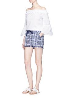 Figue'Maja' Madeira Tile print pompom shorts