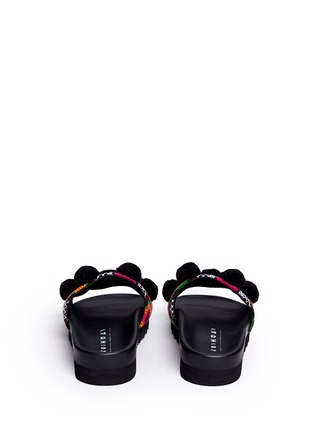 Back View - Click To Enlarge - Joshua Sanders - 'Namibia' pompom tribal embroidered slide sandals