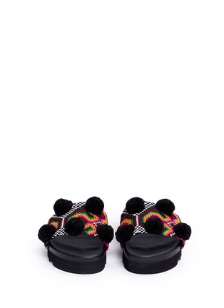 Front View - Click To Enlarge - Joshua Sanders - 'Namibia' pompom tribal embroidered slide sandals