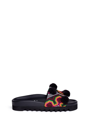 Main View - Click To Enlarge - Joshua Sanders - 'Namibia' pompom tribal embroidered slide sandals