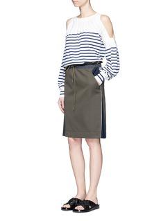 SacaiPleated insert paperbag waist twill skirt