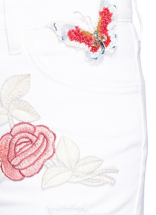 Detail View - Click To Enlarge - Giamba - Beaded butterfly floral embroidered cutoff denim shorts