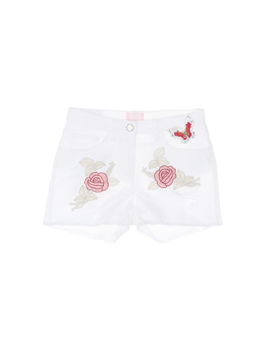 Beaded butterfly floral embroidered cutoff denim shorts by Giamba