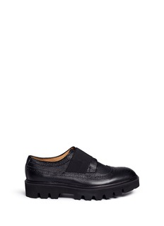 Bing Xu Elastic band longwing brogue leather Derbies