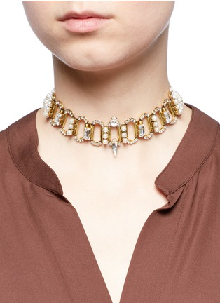 Figure View - Click To Enlarge - Erickson Beamon - 'Born Again' crystal chain link grosgrain choker