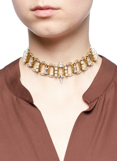 Erickson Beamon 'Born Again' crystal chain link grosgrain choker