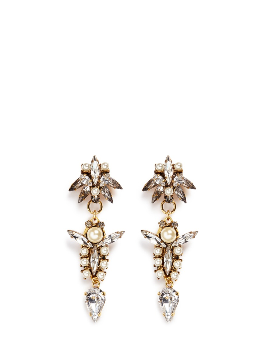 Born Again glass pearl crystal drop earrings by Erickson Beamon