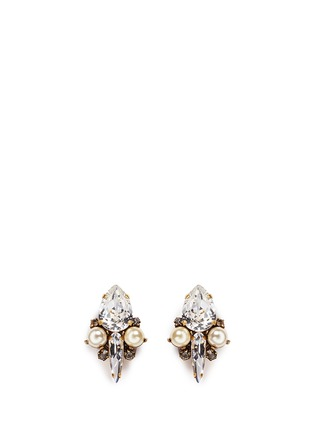 Main View - Click To Enlarge - Erickson Beamon - 'Born Again' glass pearl crystal stud earrings