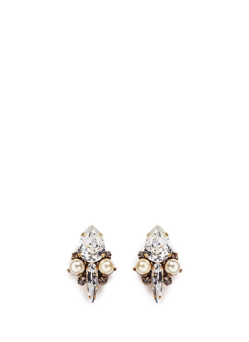 Born Again glass pearl crystal stud earrings by Erickson Beamon