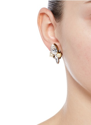 Figure View - Click To Enlarge - Erickson Beamon - 'Born Again' glass pearl crystal stud earrings